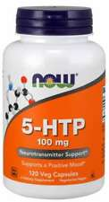 NOW Foods 5-HTP 100 mg Neurotransmitter Support Hydroxytryptophan 120 Cap 04/24