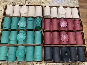 790 Chip Lot 8 Rack Set of Paulson Web Mold Hot Stamp Casino Poker Chips
