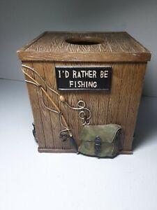 Cabelas I'D RATHER BE FISHING Kleenex tissue box holder cover square