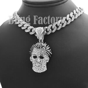 "Michael Myers Mask pendant & 18"" Iced Box Lock Cuban Chain Hip Hop Necklace"