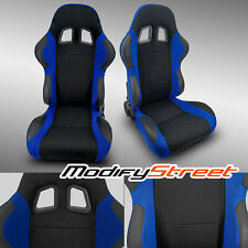 2 x BLUE+BLACK PINEAPPLE FABRIC/PVC LEATHER RACING BUCKET SEATS + SLIDER PAIR