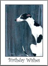 WHITE & BLACK GREYHOUND DOG BIRTHDAY CARD FROM ORIGINAL PAINTING SUZANNE LE GOOD