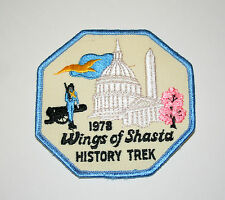 Large Vintage RV Trailer Camping Wings Of Shasta Cloth Patch New NOS 1978