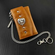 Skull Leather Trifold Card Holder Wallet With Long Key Chain For Men