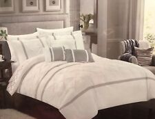 Chic Home Queen 10 Piece Comforter Set Revesible Pattern Bed In Bag White/Gray
