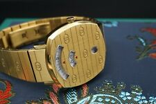 Rare Gucci Grip Gold Tone Watch 35mm with Box Tag 157.4 CO504