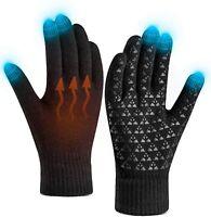 Winter Gloves for Women Men Touch Screen Warm Knit Gloves  (Black,Size:L)