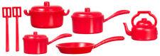 1:12 Scale Red Plastic Kitchenware Set Tumdee Dolls House Kitchen Accessory