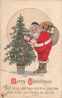 D92/ Santa Claus Merry Christmas Holiday Postcard 1924 Decorating Tree 30