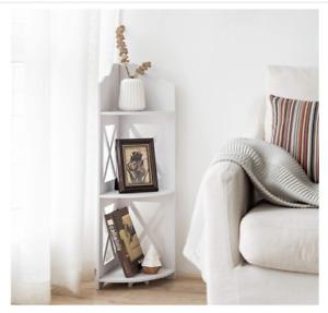Multipurpose Corner 3-tier waterproof shelf for Small Spaces (White)
