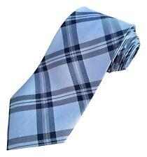 Light Blue Tartan Check Silk Tie by Luciano Versi
