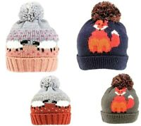 LADIES WOMENS SHEEP FOX PRINT WINTER KNITTED BEANIE SKI BOBBLE HAT HATS LINED