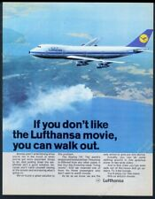 1970 Lufthansa airlines 747 plane color photo European vintage print ad