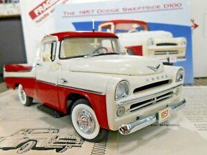 "Danbury Mint 1:24 1957 Dodge Sweptside D100 Pickup ""Dodge Truck Red/Alaska White"