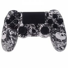 White Crazy Skull PS4 Replacement Controller Hydro Dipped Shell Mod Kit +Buttons