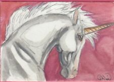 ACEO original Watercolor Art Card Horse FANTASY pretty on PINK Unicorn filly