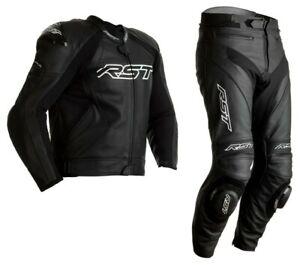 RST Tractech Evo 4 Motorrad SPORTS Ce Leder Jacke /Hose 2PC Schwarz/Schwarz