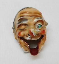 Ashtray Man Face One Eye Closed and Crossed Looking at Bee on Nose Vintage Japan
