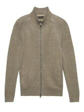 BANANA REPUBLIC Linen Full-Zip SweaterJacket - Light Brown - SIZE - LARGE