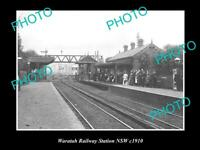 OLD POSTCARD SIZE PHOTO OF WARATAH NSW VIEW OF WARATAH RAILWAY STATION c1910