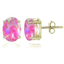 Gold Tone over Sterling Silver Created Pink Opal 8x6mm Oval Stud Earrings