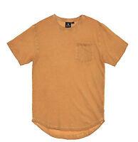 Akademiks Men's Longfellow Surface Dye Short Sleeve Scallop Hem Longline T Shirt
