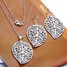 925 Silver Leaf Necklace Pendant and Earring Set -UK SELLER-