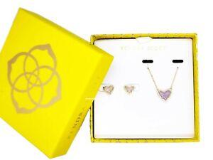 100% KENDRA SCOTT Gift Set Ari Heart Amethyst Pendant Necklace + Stud Earrings