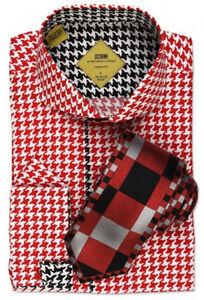 Steven Land Men's 100% Cotton Houndstooth Cutaway Collar Dress Shirt TS532 Red
