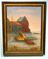 original paining boatyard sunset signed Edith McIntyre c1950s framed