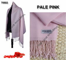 New Classic Pale Pink Real 100% Pure Pashmina Cashmere Wool Shawl Wrap Scarf