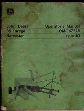 John Deere 35 Forage Harvester Operator's Manual Om-E47718 Issue Jo