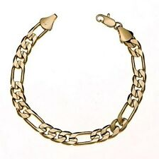 Mens 14K Yellow Gold Plated 8in Figaro Link Bracelet 5.6 MM