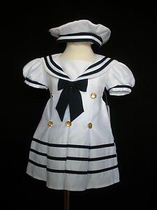 D1 New Baby Girl Sailor Nautical Cruise Party Dress Outfits New born - 4 years