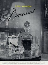 PUBLICITE CRISTAL BACCARAT SERVICE WHISKY VERRES CARAFE PIPE DE 1960 FRENCH AD