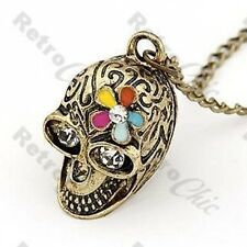 Vintage Brass multi flower Goth Chic Retro Skull long chain Necklace rhinestone