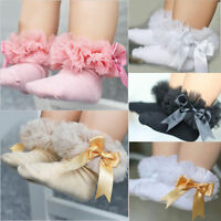 Baby Kids Girls Princess Bowknot Sock Lace Ruffle Frilly Trim Cotton Ankle Socks