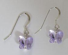 925 pendientes De Plata Con Swarovski Elements Violeta Cristal Mariposa