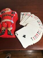 COCA COLA SANTA TIN WITH 2 PACKS OF PLAYING CARDS