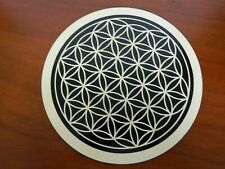 10 Inch Wooden Sacred Geometry Crystals Grid Flower of Life Brown