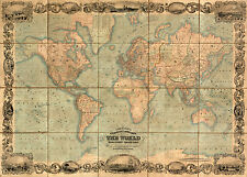 World Map Illustrated, 1847 Vintage Giclee Canvas Print 40x29