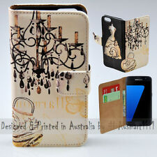 Wallet Phone Case Flip Cover ONLY for Samsung Galaxy S7 - Vintage Chandelier