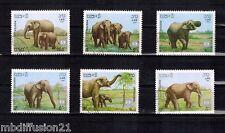 1987 - SERIE DE 6 TIMBRES OBL.**-/ELEPHANT - LAOS  Yt.791/96