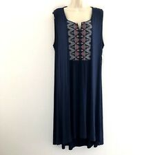 Style & Co. women's 2X dress shift midi embroidered stretch notched neck