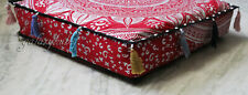 """20X20X4"""" Square Red Silver Mandala Box Cushion Cover New Cotton Pillow Covers"""
