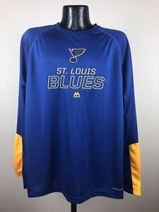 Men's Majestic St. Louis Blues Blue Performance Long Sleeve Tee Shirt NWT Large