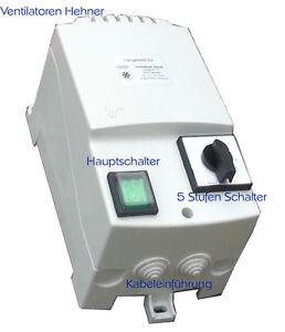 7 A 230V Drehzahlregler 5 Stufen Regler Trafo Steuergerät für Lüfter Ventilator