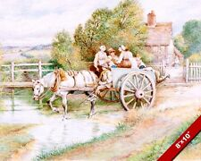 CHILDREN IN HORSE DRAWN CART WATERCOLOR PAINTING ART REAL CANVAS GICLEEPRINT