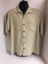 Tommy Bahama Cream S/S Button 100% Silk Pocket Camp Shirt Mens Sz LARGE
