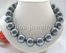 """P4681-18"""" 20mm natural bright black south sea shell pearl necklace-gold plated"""